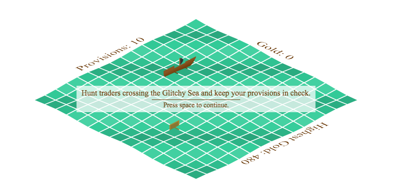 "Screenshot of the ""Pirates of the Glitchy Sea"" game showing a ship on an isometric sea."